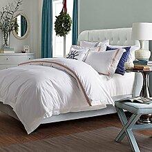 Hotel Serie 4 Stück 100% Baumwolle weiße Bettlaken set Queen Size bestickte Bettwäsche Bettbezüge Satin Bettwäsche