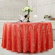 Hotel Tischdecke Bankett Häkeln Restaurant Hochzeit Tisch Rock Restaurant Runde Tischdecke,Red-300CM