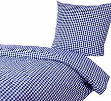 Hotelbettwäsche 155x220 80x80 cm, Karo 1x1 cm, Blau, Baumwolle, kariert, durchgewebt, kochfest, Hotelverschlus