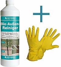 HOTREGA Bio Außen Reiniger 1L SET + NITRAS Handschuhe Gr. 10