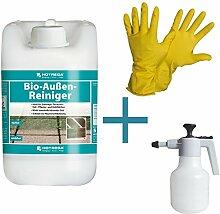 HOTREGA Bio Außen Reiniger 5L SET + NITRAS Handschuhe Gr. 10 + Druckspritze 15L