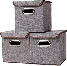 Houda Aufbewahrungsboxen Tonnen Leinen Faltbare Korb Cubes Organizer Box Container Schubladen mit Deckel, 2Stück, grau, 25x25x25CM