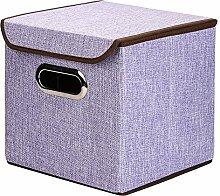 Houda Aufbewahrungsboxen Tonnen Leinen Faltbare Korb Cubes Organizer Box Container Schubladen mit Deckel, 2Stück, violett, 25x25x25CM