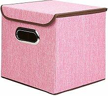 Houda Aufbewahrungsboxen Tonnen Leinen Faltbare Korb Cubes Organizer Box Container Schubladen mit Deckel, 2Stück, rose, 25x25x25CM
