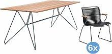 Houe Sketch Bamboo Gartenset 220x88 Tisch + 6