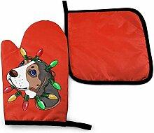 Houlipeng Beagle Dog Mikrowelle Ofenhandschuhe und
