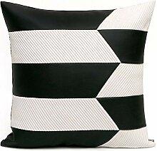 HOUMEL Dekorative schwarz Kunstleder Dinkel Weiß