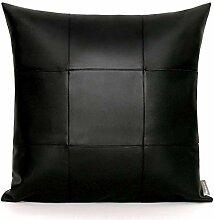 HOUMEL Leder Stitching-Platz Kissenbezug Black