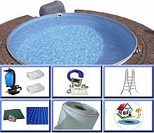House of Pools Stahlwandbeckenset Saint Barth 4,00 x 1,20 m All Inclusive Folienstärke 0,6 mm mit Edelstahlleiter, weiß, 80x120x180 cm, 14000 L, 496007