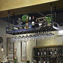 Houyuanshun DSC Rack Inverted Becherhalter Bar Weinregal Hängende Becher Stand Hängende Becherhalter Weinregal Weinglas Lagerregal (Farbe : Schwarz, größe : 120cm*35cm)