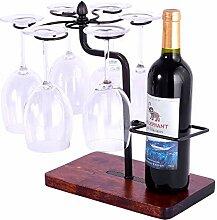 HOWDIA Weinregal für 1 Flaschen und 6 Gläser,