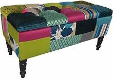 HOWE-Deko Deko Sitz-Bank-Liege Bettbank mit Stauraum, Design Roomy, Motiv Patchwork, Motiv Patchwork, Bezug bunt rot gepolstert, dunkle Holzfüße, für Flur und Diele, mit Stauraum, B80 x H40 x T40 cm