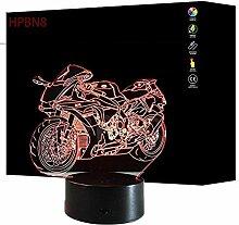 HPBN8 3D Motorrad Lampe USB Power 7 Farben Amazing