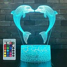 HPBN8 Ltd 3D Delphin Lampe Nachtlicht