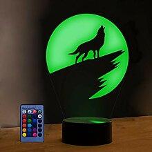 HPBN8 Ltd 3D Wolf Lampe USB Power 7/16 Farben