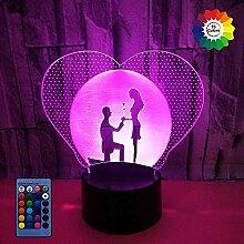 HPBN8 Ltd Kreative 3D Hochzeit Nacht Licht Lampe