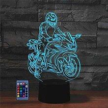 HPBN8 Ltd Kreatives 3D-Nachtlicht für Motorrad,