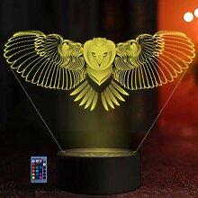 HPBN8 Ltd Optical Illusions 3D Eule Nacht Licht