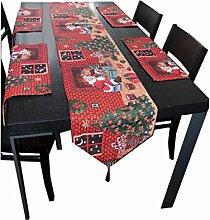 HQdeal Tischläufer Rot Weihnachten und Tischsets
