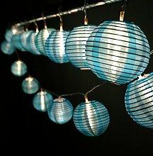 HQOON Außen Lichterkette mit Mini Nylon Laterne, LED Fee decorative Lichterkette, 3 AA Batterie [nicht im Lieferung enthalten], 2 Modell von der Beleuchtung, 10ft / 3m, 20 Led Birnen und Laternen Ideal für Indoor und Outdoor