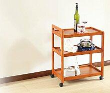 HQQ Massivholz Mobile Speisewagen Kleiderbügel Aufhänger Mehrzweck-Küche Wohnzimmer Lagerung dreistufigen Auto (Farbe : #1)