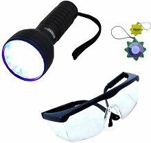 HQRP 76 LEDs 390nm UV-Taschenlampe mit einem