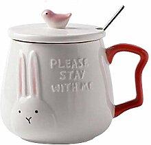 HRDZ Cartoon Water Cup Mug with lid Spoon Creative