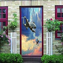 HRKDHBS 3D Tür Bewirken Fototapete Flugzeug