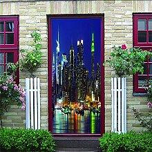 HRKDHBS 3D Tür Bewirken Fototapete Nachtansicht