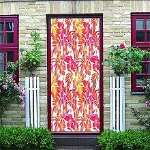 HRKDHBS 3D Tür Bewirken Fototapete Rote Blätter
