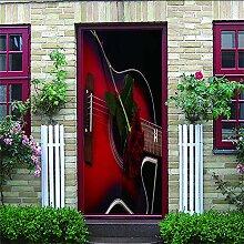 HRKDHBS 3D Tür Bewirken Fototapete Rote Gitarre