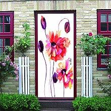 HRKDHBS 3D Tür Bewirken Fototapete Schöne Blume