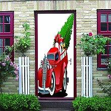 HRKDHBS 3D Tür Bewirken Fototapete Wagen