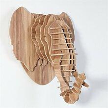 HROOME Holz Rätsel Hirsch Interieur Home Dekoration Mammut Tier Afrika Figur Skulptur Deko (38*32*43 cm, Asche)