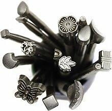 Hrph 16pcs Arbeitssattel Werkzeuge Vintage-Werkzeuge DIY Lederhandwerk Stempel stellten machen