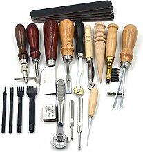 Hrph 18pcs Fertigkeit DIY handgemachte Werkzeuge Schlags-Edger Trench Geräte Gürtel Schlags Set Lederhandwerkzeuge