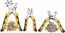 Hrph 3pcs / set Lochzange Duty-Leder Locher Handzangen Gürtel Löcher Punches mit 200pcs Grommet Einstellgerät Kits