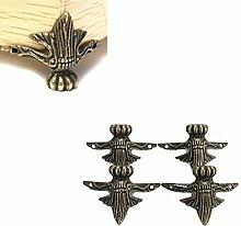 Hrph 4pcs antike Messingschmucksache -Geschenk-Kasten Holz-Kasten Dekorative Füße Bein Eckenschutz