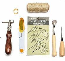 Hrph 7pcs Nähen Leder Werkzeuge Carft Ahle Costura Handstitching Set Kit Gewinde Ahle Gewachste Fingerhu