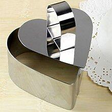 Hrph Edelstahl-Blume / rund / quadratisch / Herz Mousse Cake Moulds Fondant-Kuchen-Ring Hobel Cutter DIY Backen-Werkzeuge