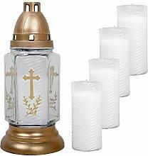 HS Candle Grableuchte aus Glas (24cm) mit Kreuz