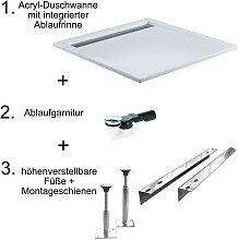 HSK Acryl-Duschwanne mit integrierter Ablaufrinne