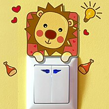HSNZZPP Schalter Aufkleber Kreative Hauptkarikaturwandaufkleber Reizende Tiere Küken Schalter Aufkleber Wanddekoration Wasserdicht PVC-Aufkleber Entfernen,Lion-all