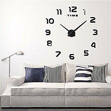 HSTOP 3D DIY Wanduhr mit Uhr, groß, Modern,