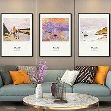 HT Fotos Monet World Famous Wohnzimmer Dekoration Malerei Sofa Hintergrund Wand Dreibettzimmer Gemälde (MUSTER : B)