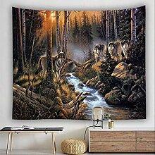 HTAPE Wandteppich, Tier Wandhängen Mond Wolf Wand