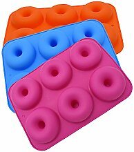 htfrgeds 3 Pack Silikon Donut Formen, 6 Hohlraum