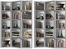 HTI-Line Paravent Bücherregal Sichtschutz