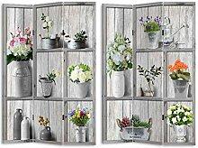 HTI-Line Paravent Flora Sichtschutz Spanische Wand