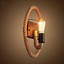 HTL Dekorative Nachtlampe - Hanfseil Wandlampe
